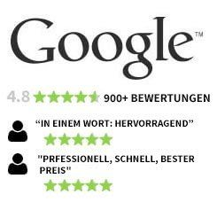 Over 900 Reviews on Google with a 4.8 five stars rating.